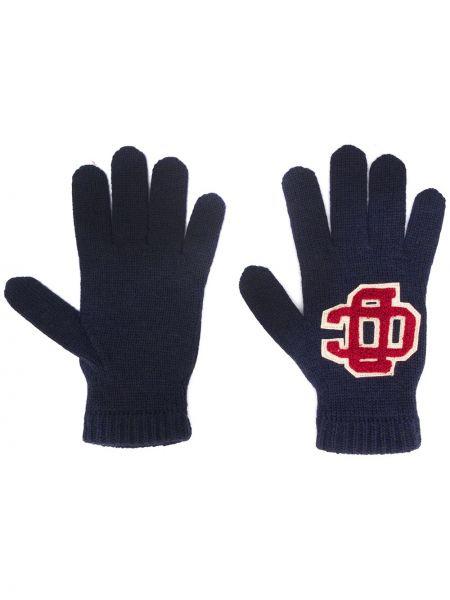 Prążkowane niebieskie rękawiczki wełniane Dsquared2