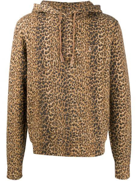 Bluza długa z kapturem z haftem z długimi rękawami Saint Laurent