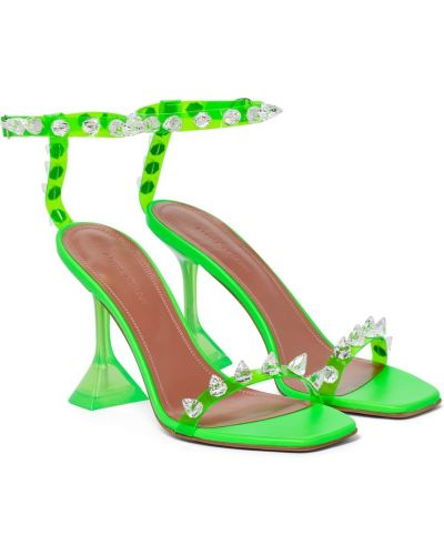 Зеленые кожаные сандалии Amina Muaddi