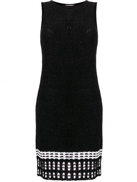 Черное вязаное платье из вискозы с декоративной отделкой Charlott