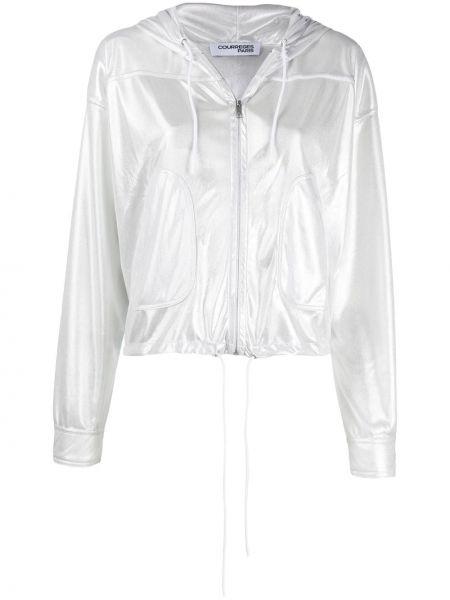 Куртка с капюшоном длинная серебряная Courrèges