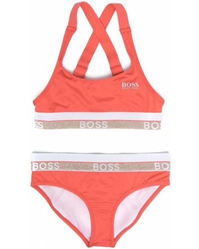 Pomarańczowy strój kąpielowy z printem Boss Kidswear
