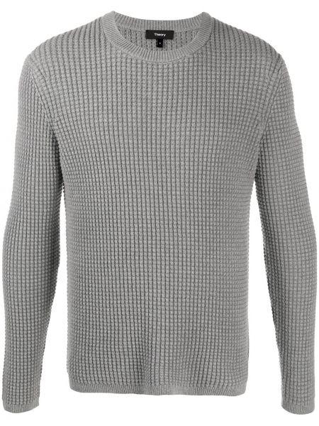 Серый вязаный длинный свитер с вырезом Theory