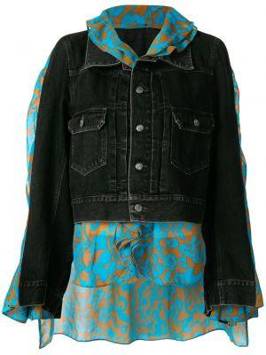 Хлопковый черный джинсовая куртка с воротником Maison Mihara Yasuhiro