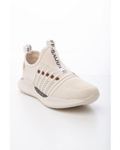 Брендовые текстильные бежевые кроссовки Saijun