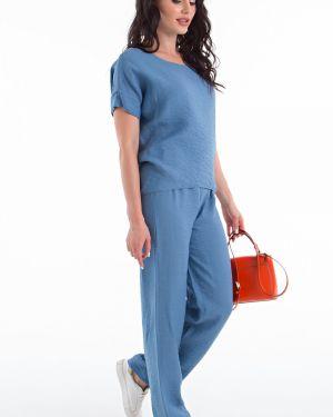Синий нейлоновый костюмный джинсовый костюм свободного кроя Lady Taiga