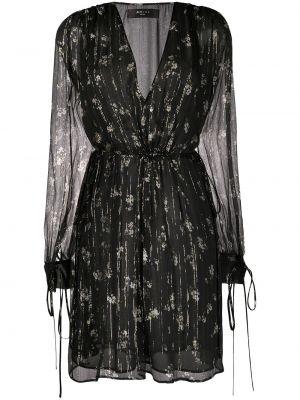 С рукавами черное шелковое платье на молнии Amiri