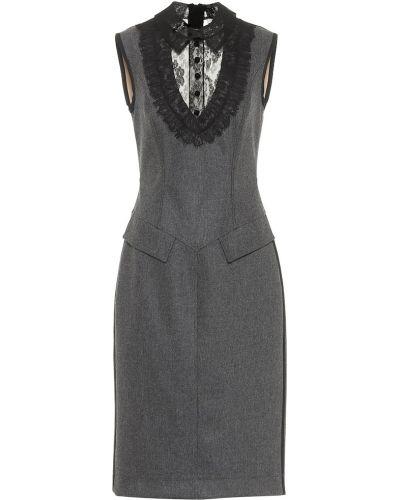 Шерстяное кружевное платье миди на шнурках Fendi