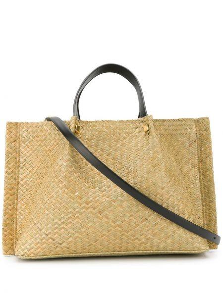 Золотистая соломенная сумка-тоут Valentino