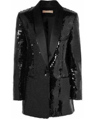 Czarna kurtka z cekinami z jedwabiu Michael Kors Collection