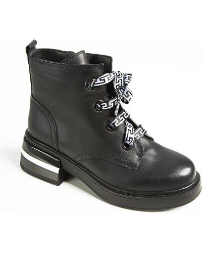 Черные кожаные ботинки Sidestep