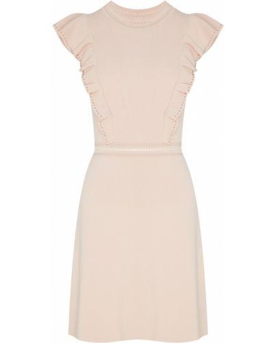 Платье с поясом розовое с бисером Sandro