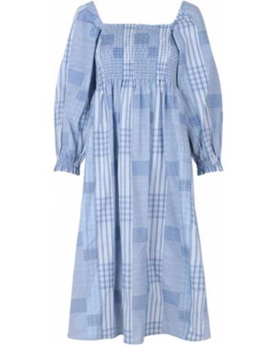 Niebieska sukienka midi w kratę krótki rękaw Munthe