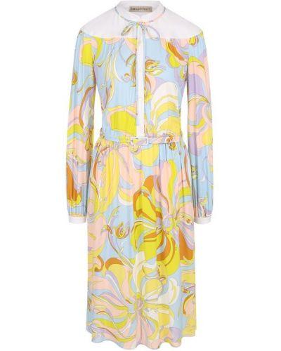 Платье с поясом с цветочным принтом приталенное Emilio Pucci