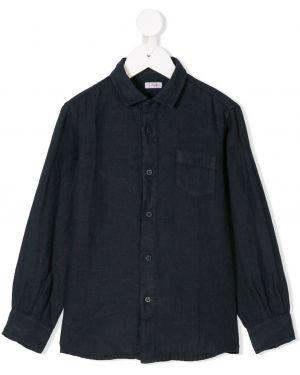 Классическая льняная черная рубашка с карманами Il Gufo