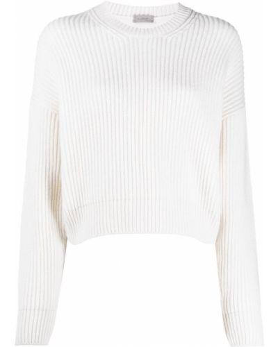 Белый шерстяной джемпер с круглым вырезом с длинными рукавами Mrz