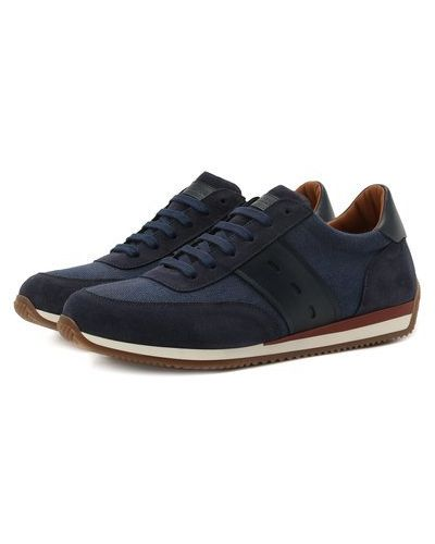 Комбинированные синие кожаные кроссовки Corneliani