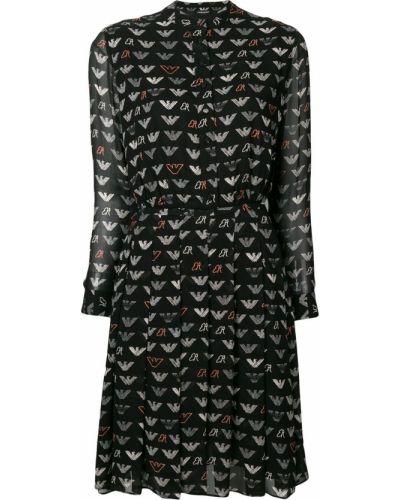 Приталенное черное платье миди с длинными рукавами Emporio Armani