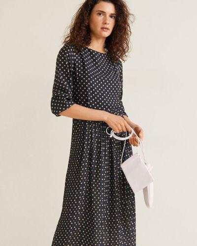 Платье миди с поясом с декольте Mango