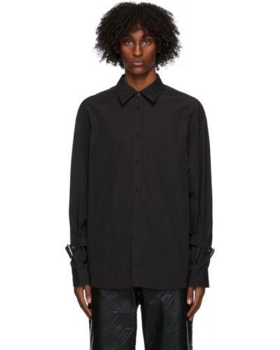 Черная рубашка с воротником с заплатками с карманами We11done