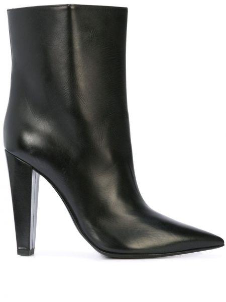 Кожаные черные сапоги на высоком каблуке на каблуке без застежки Poiret