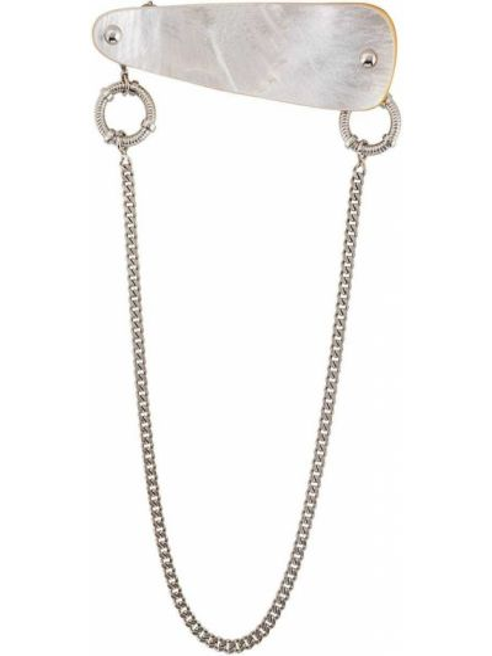 Broszka ze srebra z perłami na łańcuchu Gianfranco Ferré Pre-owned