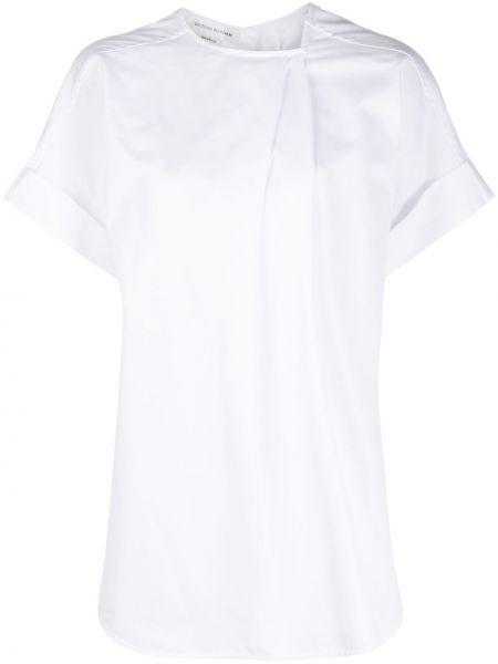 Хлопковая свободная белая асимметричная блузка с коротким рукавом Victoria Beckham