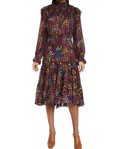 Sukienka midi z długimi rękawami z szyfonu Farm Rio