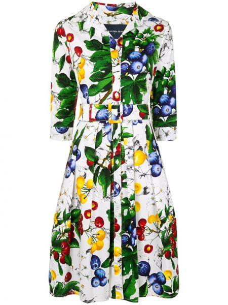 Платье с поясом на пуговицах плиссированное Samantha Sung