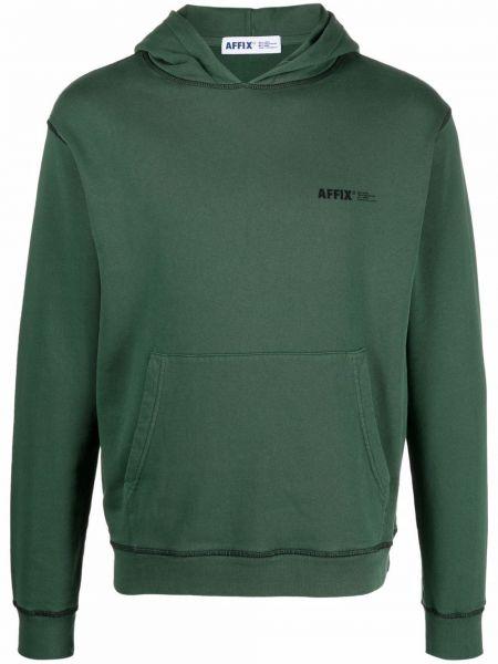 Zielona bluza długa z kapturem z długimi rękawami Affix