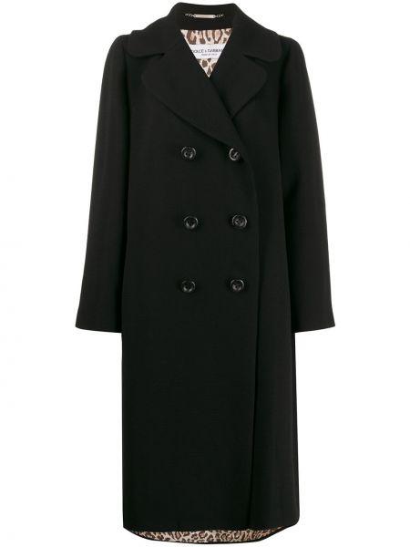 Черное свободное шерстяное пальто свободного кроя Dolce & Gabbana Pre-owned