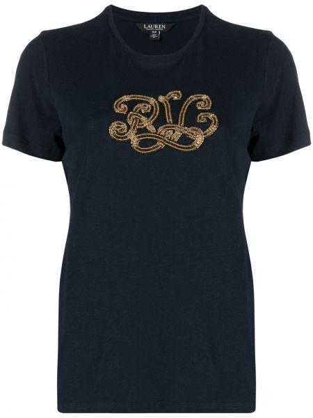Синяя прямая футболка с вырезом Lauren Ralph Lauren