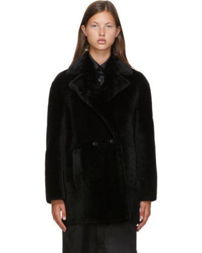Черное длинное пальто с воротником с лацканами с карманами Max Mara