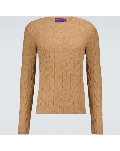 Бежевый кашемировый вязаный свитер Ralph Lauren Purple Label