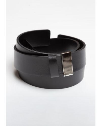 Тонкий ремень металлический черный Vassa&co
