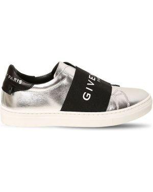 Серебряные кожаные слипы эластичные Givenchy
