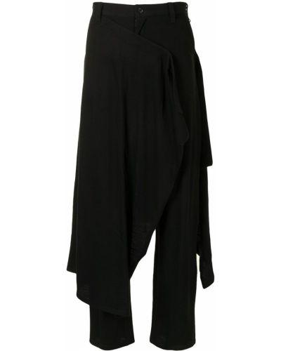 Prosto wełniany czarny spódnica ołówkowa z kieszeniami Yohji Yamamoto