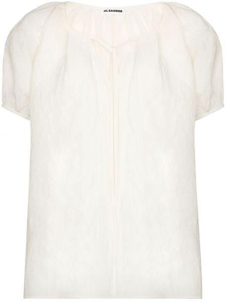 Ватная белая льняная блузка Jil Sander