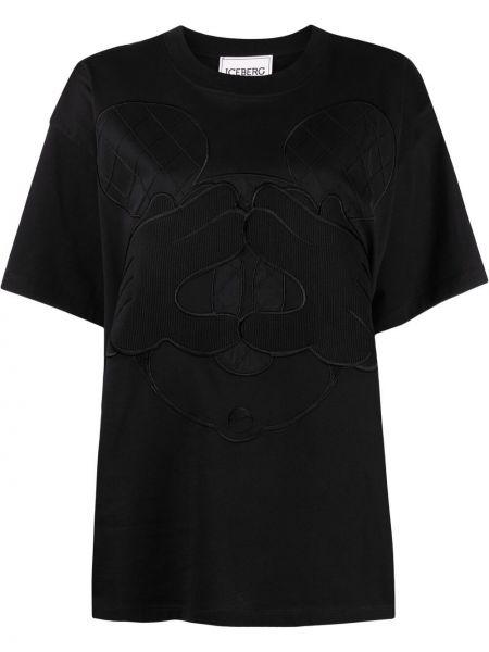 Прямая черная футболка с вырезом Iceberg