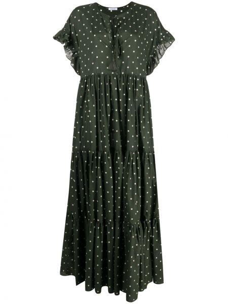 Зеленое платье мини в горошек с вырезом P.a.r.o.s.h.