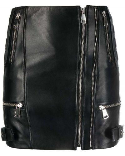 Прямая черная кожаная юбка мини Manokhi