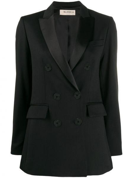 Черный удлиненный пиджак с карманами Blanca