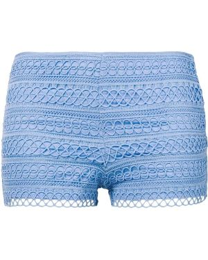 Хлопковые синие короткие шорты с вышивкой Charo Ruiz Ibiza