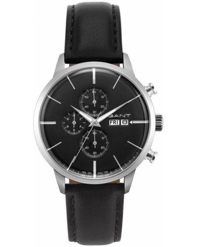 Czarny zegarek mechaniczny srebrny kwarc Gant