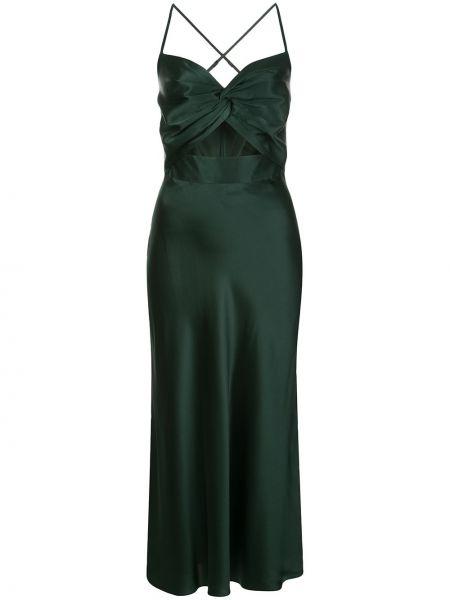Приталенное шелковое платье миди на бретелях на молнии Michelle Mason
