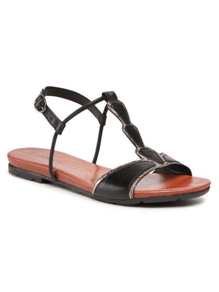 Czarne sandały skorzane na co dzień Lasocki