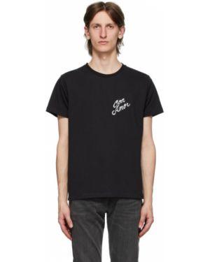 Хлопковая с рукавами черная рубашка с короткими рукавами с воротником Second/layer