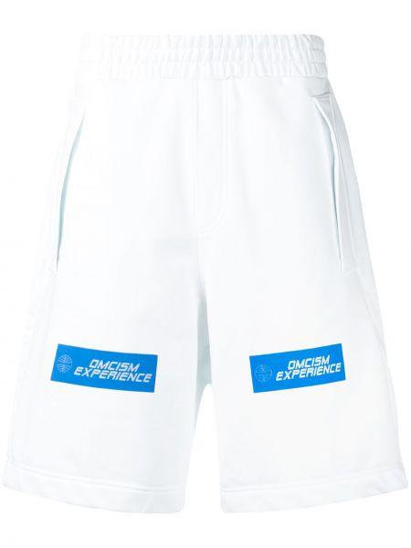 Białe spodenki sportowe z wysokim stanem bawełniane Omc