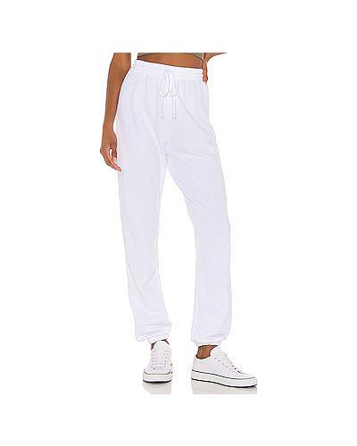 Хлопковые белые брюки на резинке с завязками с поясом Lna