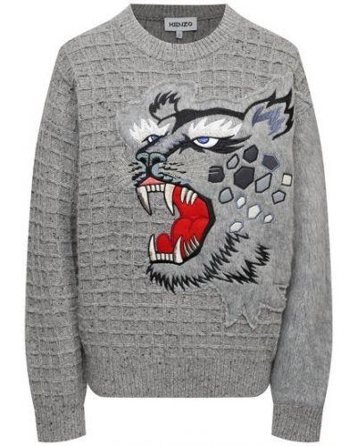 Шерстяной пуловер - серый Kenzo